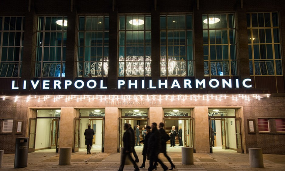 outside of liverpool philharmonic hall at night
