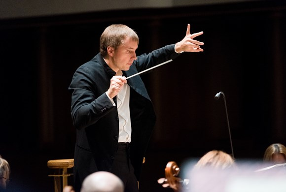 conductor Vasily petrenko in action during a concert